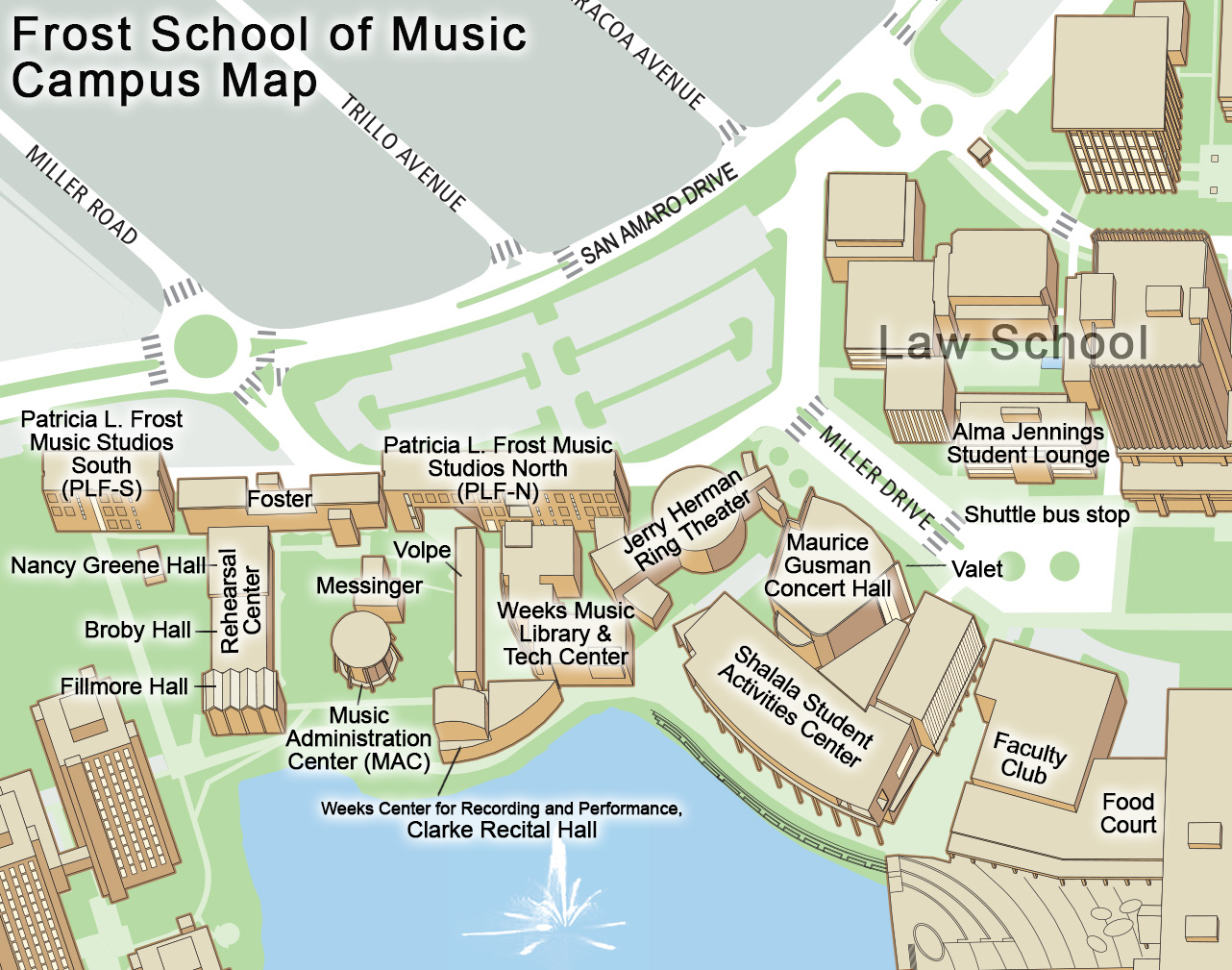 Map of the Frost School of Music Buildings